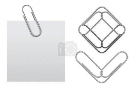 Vector sticky note with paper clip...