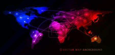 Illustration pour Concept d'entreprise mondiale avec carte du monde. Illustration vectorielle - image libre de droit
