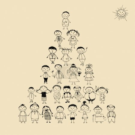 Funny pyramid with happy big family smiling together, drawing sketch
