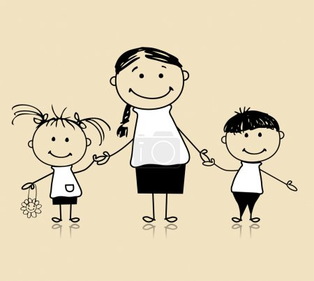 Illustration pour Joyeux famille souriant ensemble, mère et enfants, dessin croquis - image libre de droit