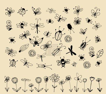 Illustration pour Collection de croquis d'insectes pour votre design - image libre de droit