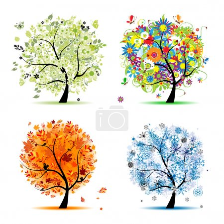 Ilustración de Four seasons - spring, summer, autumn, winter. Art tree beautiful for your design - Imagen libre de derechos