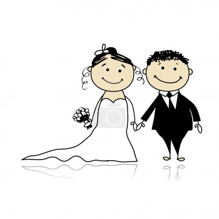 Illustration for Wedding ceremony - bride and groom together for your design - Royalty Free Image