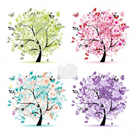 Illustration for Set of floral trees beautiful for your design - Royalty Free Image