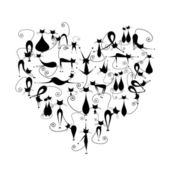 I love cats! Black cats silhouette in heart shape for your design