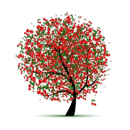 Illustration for Energy cherry tree for your design - Royalty Free Image