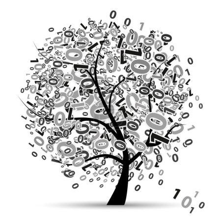 Illustration pour Silhouette d'arbre numérique, chiffres - image libre de droit