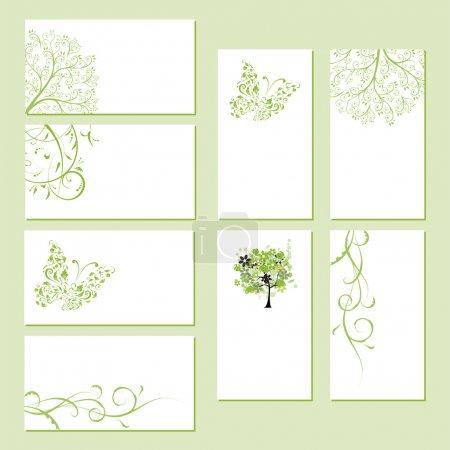 Photo pour Set de cartes de visite, ornement floral pour votre design - image libre de droit