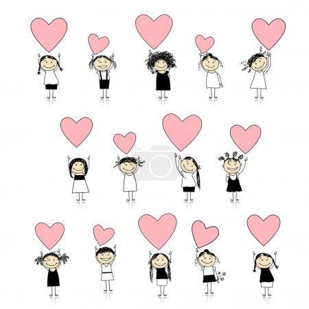 Illustration pour Filles mignonnes avec des cœurs de Saint-Valentin pour votre conception - image libre de droit