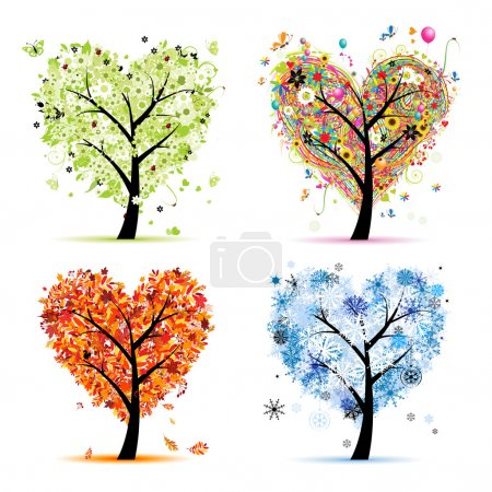 Four seasons - spring, summer, autumn, winter. Art tree heart shape for you