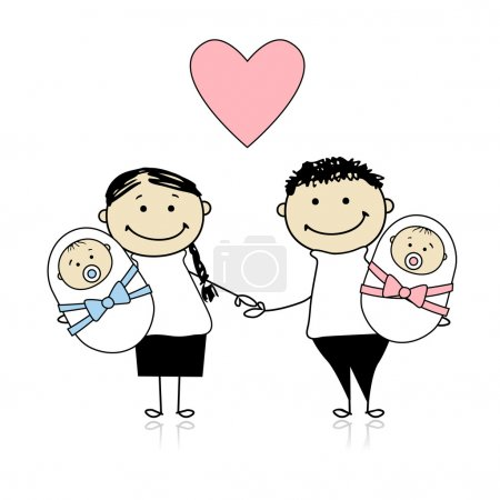 Illustration for Happy parents with newborn twins - Royalty Free Image