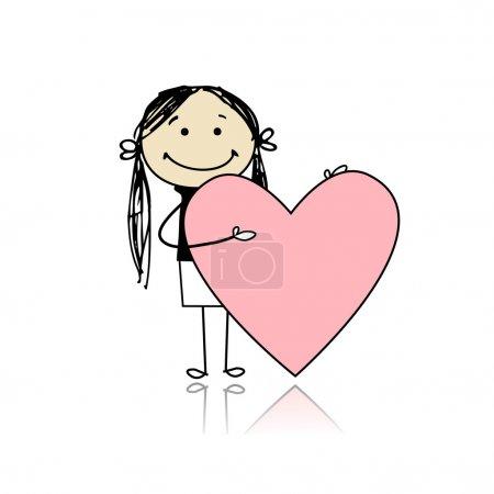 Illustration pour Jolie fille avec coeur de Saint-Valentin, endroit pour votre texte - image libre de droit