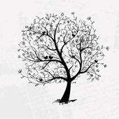 Art tree beautiful black silhouette for your design