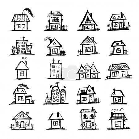 Illustration for Sketch of art houses for your design - Royalty Free Image