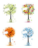 Four seasons - spring summer autumn winter Art trees in pots for your design
