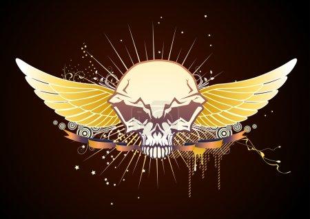 Photo pour Illustration du crâne doré de style ailé emblème - image libre de droit