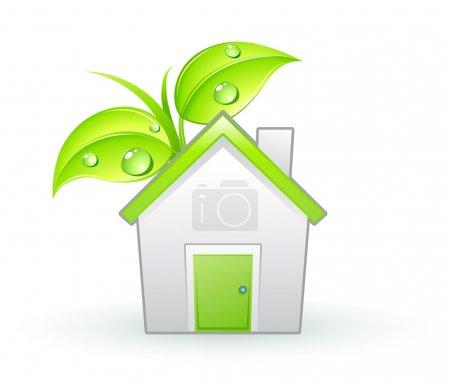 Foto de Ilustración del icono único eco - hojas verdes verdes y casa con gotas de agua - Imagen libre de derechos
