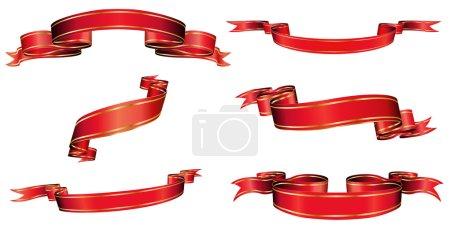 Foto de Ilustración de arcos blanco rojos, cintas y banderas con espacio para texto - Imagen libre de derechos
