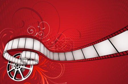 Photo pour Illustration de fond abstrait floral rouge avec film et bobine de film - image libre de droit