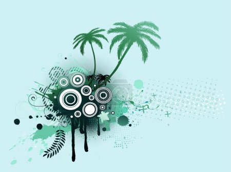 Photo for Illustrated blue decorative elements with palm trees and Grunge circles - Royalty Free Image