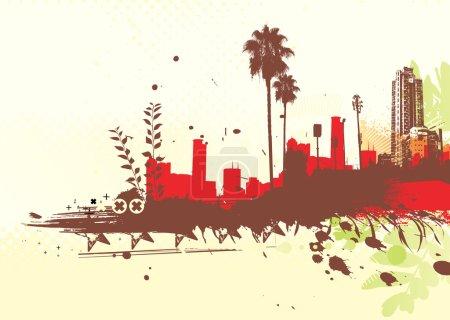 Foto de Ilustración de fondo urbano estilo grunge tropical - Imagen libre de derechos