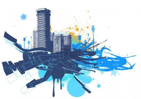 Photo pour Illustration de fond urbain avec grunge teinté d'éléments de conception - image libre de droit