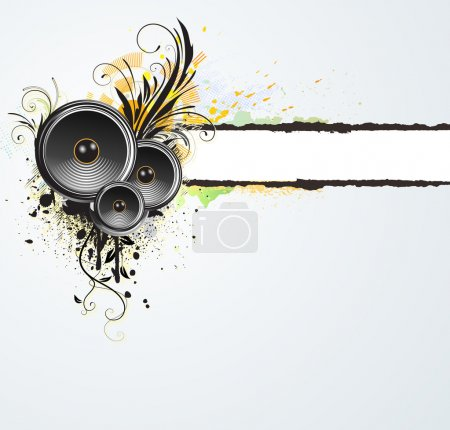 Photo for Illustration of grunge floral abstract banner with music design elements - Royalty Free Image