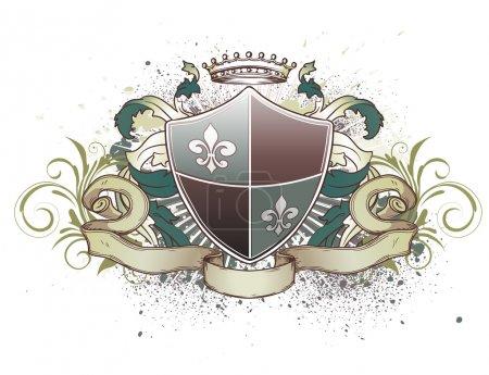 Foto de Ilustración del escudo heráldico o tarjeta de identificación con la corona, banner, grunge y elementos florales - Imagen libre de derechos