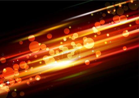 Photo pour Illustration du fond lumineux abstrait futuriste orange avec des points lumineux néon flous - image libre de droit