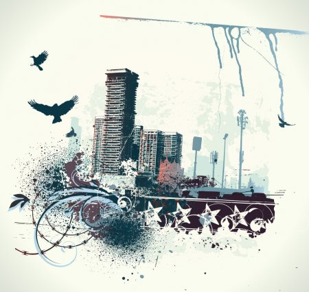 Photo for Illustration of urban background with grunge stained Design elements - Royalty Free Image