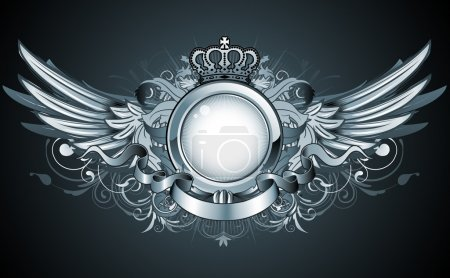 Photo for Illustration of heraldic frame or badge with crown, wings, banner and floral elements - Royalty Free Image