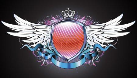 Foto de Ilustración del escudo heráldico o placa con dos alas, corona, banner y elementos florales - Imagen libre de derechos
