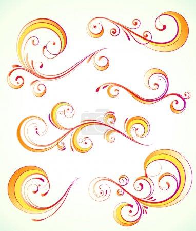 Photo for Illustration set of orange swirling flourishes decorative floral elements - Royalty Free Image