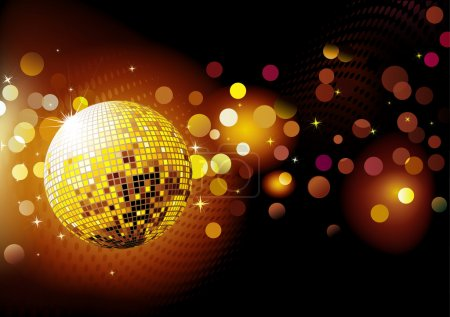 Photo pour Illustration de fête abstraite Arrière-plan avec des lumières éclatantes et boule disco - image libre de droit