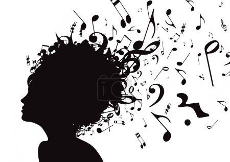 Photo pour Illustration de silhouette visage abstrait de jeune fille de profil avec la comédie musicale hair, isolé sur fond blanc - image libre de droit