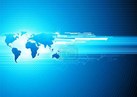 Photo pour Illustration de fond haute technologie abstrait bleu avec carte du monde glacé - image libre de droit