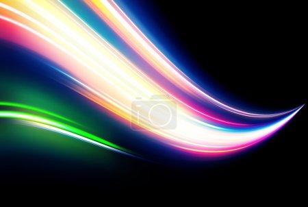 Photo pour Illustration d'un fond abstrait néon composé de lignes courbes de lumière de couleur magique floue - image libre de droit