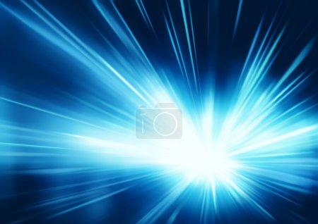 Foto de Ilustración de fondo abstracto con rayos de luz neón mágico borrosa azul - Imagen libre de derechos