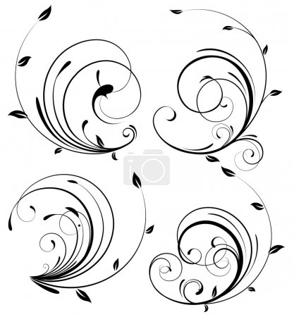 Photo for Set of swirling flourishes decorative floral elements - Royalty Free Image