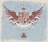 Vector illustration of retro grunge heraldic shield or badge with wings and crown