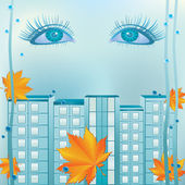Women's eyes yellow leaves and town houses on a rainy background