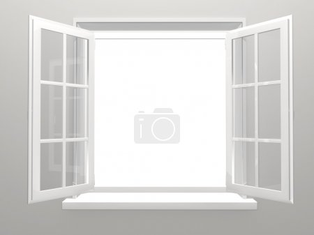Photo for Opened plastic window. 3d render - Royalty Free Image