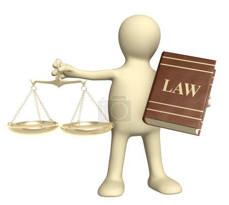 Photo pour Marionnette avec écailles or et code de lois. isolé sur blanc - image libre de droit