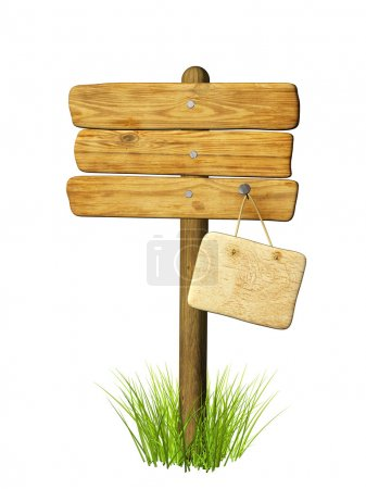 Photo for Wooden signboard. Object isolated over white - Royalty Free Image