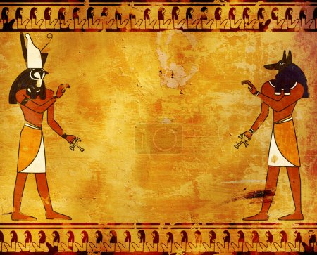 Background with Egyptian gods images - Anubis and ...