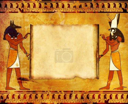 Photo pour Arrière-plan avec des images des dieux égyptiens - Anubis et Horus - image libre de droit