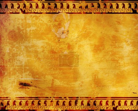 Background with Egyptian symbols. Stucco texture...