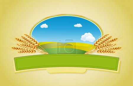Illustration for Package desing. Wheat flour or Pasta, macaroni, spaghetti. Vector illustration of ears of wheat, lable and landscape. - Royalty Free Image