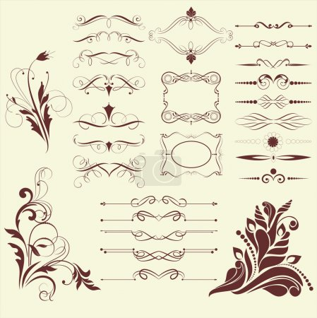 Illustration for Set of design elements and initials in gothic style vectorized - Royalty Free Image