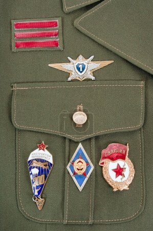 Photo for Russian military badges on the green uniform - Royalty Free Image
